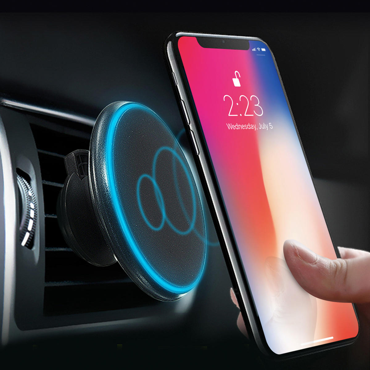 Bargainova™ QI Wireless Car Charger & Magnetic Phone Mount for Apple iPhone