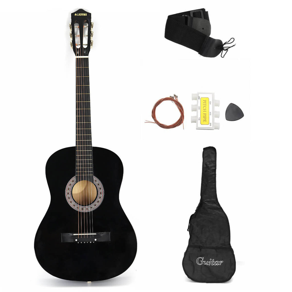 Black AcousticBoy™ Guitar for Beginner with Case, Strap, Tuner, Pick, Strings
