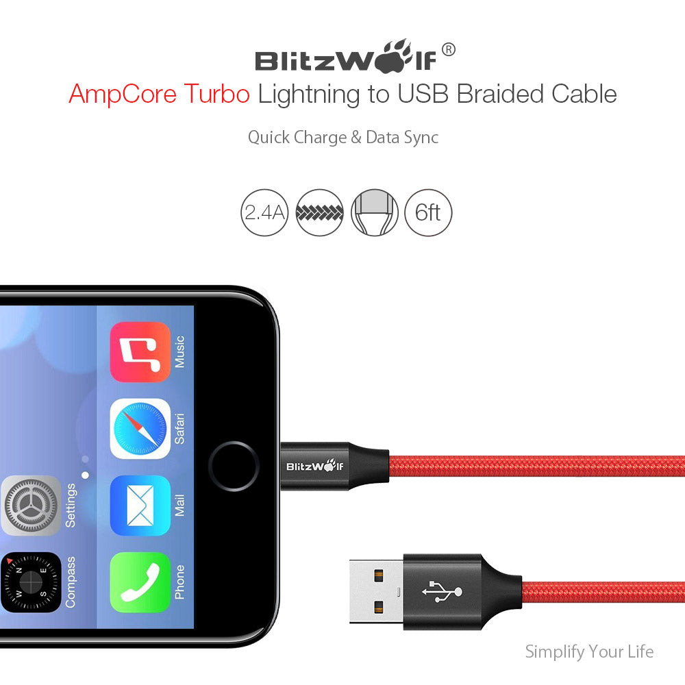 BlitzWolf Lightning Charger Cable for Apple iPhone 6 ft Long