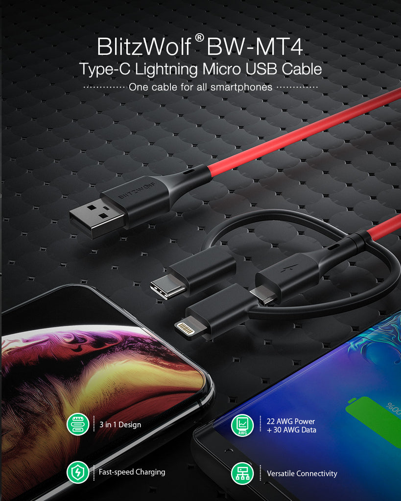 Blitzwolf 3-1 USB C, Mirco USB & iPhone Charging Cable 3 ft Samsung