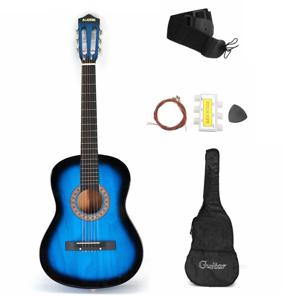 Blue AcousticBoy™ Guitar for Beginner with Case, Strap, Tuner, Pick, Strings