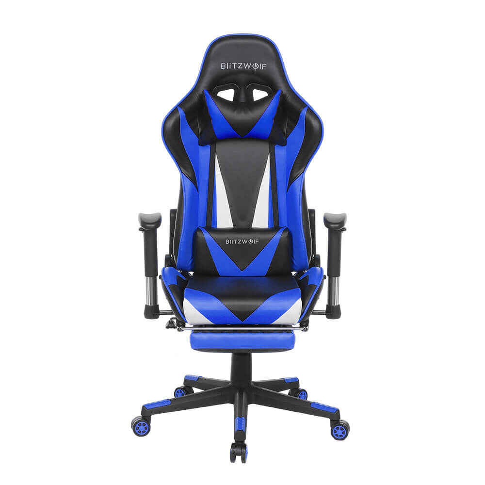 Blue BlitzWolf™ Gaming Chair with Adjustable Armrest and Footrest, and 180° Reclining