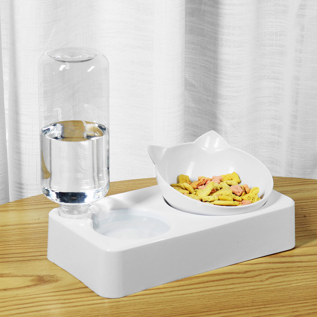 BossPet™ Automatic Water Dispenser with Food Bowl for Cats