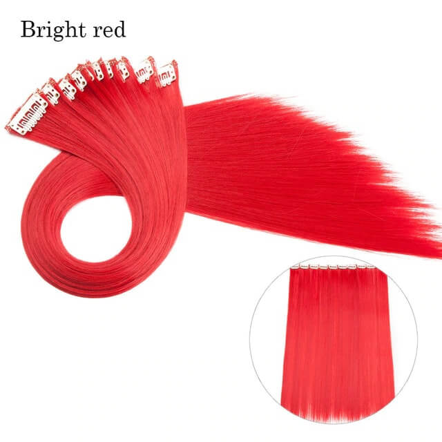 Bright Red LuxDiva™ 20 inches Hair Extension with Highlight