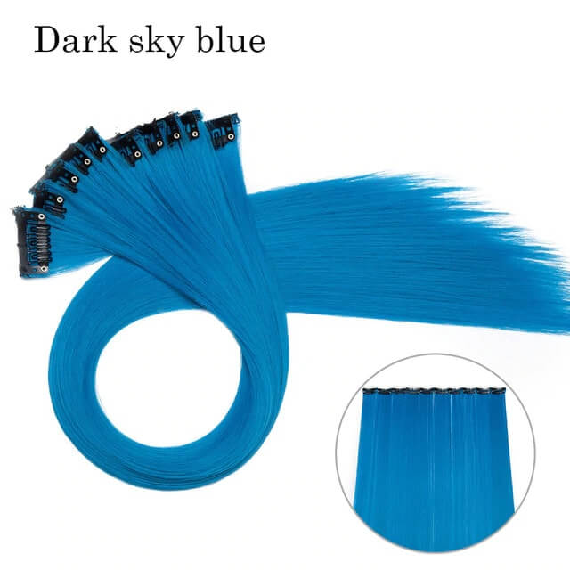 Dark Sky Blue LuxDiva™ 20 inches Hair Extension with Highlight