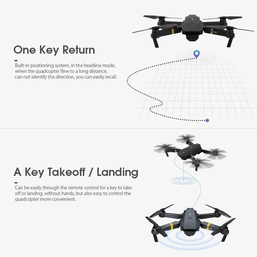 Eachine E58 Foldable Drone Takeoff and Landing Features