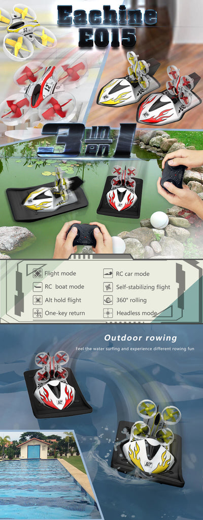 Eachine™ Quadcopter RC Drone with 3 in 1 mode - Flight, RC Boat, and RC car