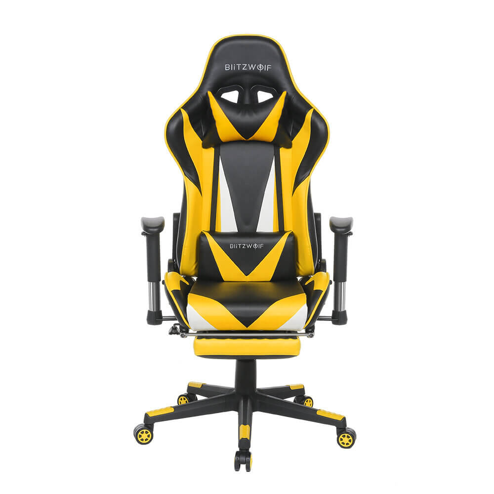 Yellow BlitzWolf™ Gaming Chair with Adjustable Armrest and Footrest, and 180° Reclining