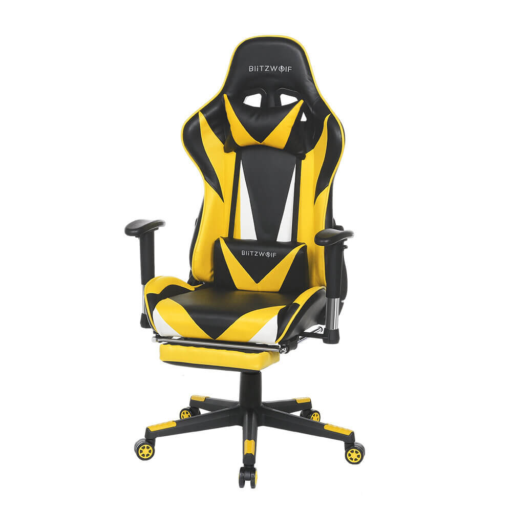 BlitzWolf™ Gaming Chair with Adjustable Armrest and Footrest, and 180° Reclining