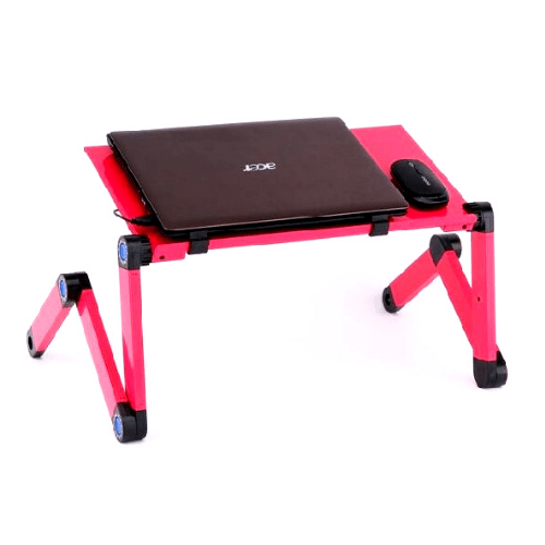 Pink Portable Folding Laptop Desk with Mouse Pad