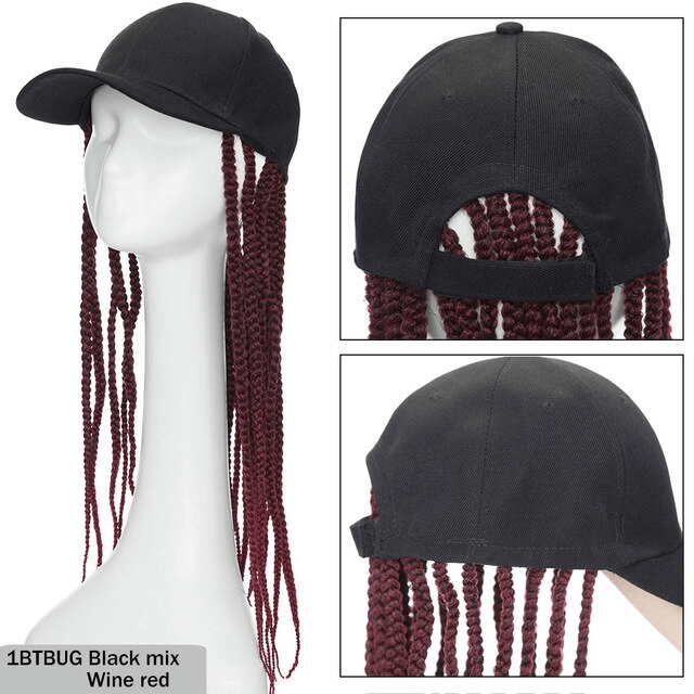 LuxDiva™ Black Baseball Cap Hat with Braiding Hair Extension