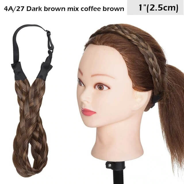 LuxDiva™ Braided Hair Headband with Adjustable Belt Dark Brown mix Coffee Brown 2.5cm