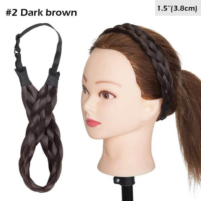 LuxDiva™ Braided Hair Headband with Adjustable Belt Dark Brown 3.8cm