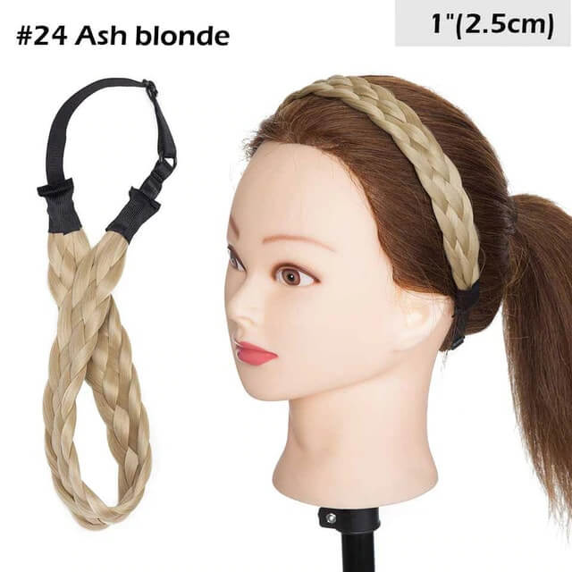 LuxDiva™ Braided Hair Headband with Adjustable Belt Ash Blonde 2.5cm