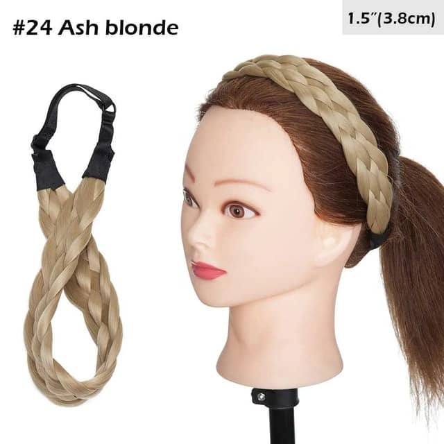 LuxDiva™ Braided Hair Headband with Adjustable Belt Ash Brown Blonde 3.8cm