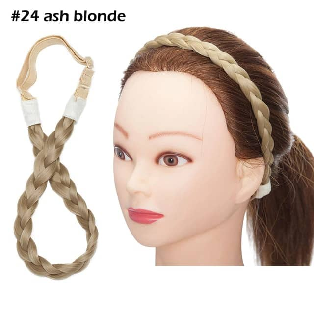 LuxDiva™ Braided Hair Headband with Adjustable Belt Ash Blonde