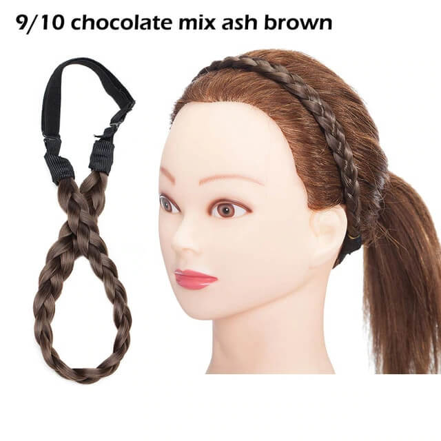 LuxDiva™ Braided Hair Headband with Adjustable Belt Chocolate Mix Ash Brown