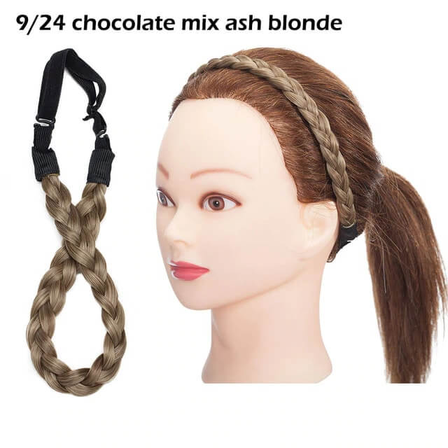 LuxDiva™ Braided Hair Headband with Adjustable Belt Chocolate Mix Ash Blonde
