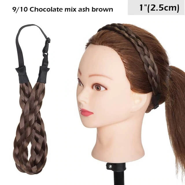 LuxDiva™ Braided Hair Headband with Adjustable Belt Chocolate Mix Ash Brown 2.5cm