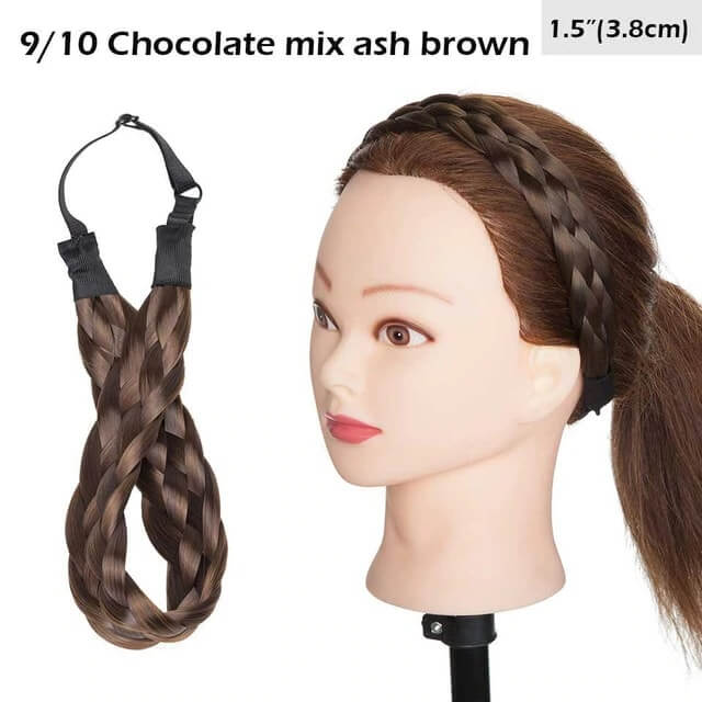 LuxDiva™ Braided Hair Headband with Adjustable Belt Chocolate Mix Ash Brown 3.8cm