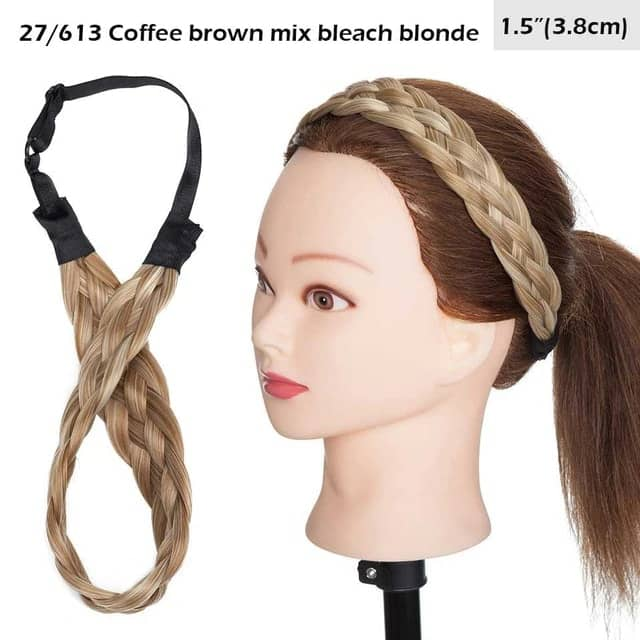 LuxDiva™ Braided Hair Headband with Adjustable Belt Coffee Brown Mix Bleach Blonde