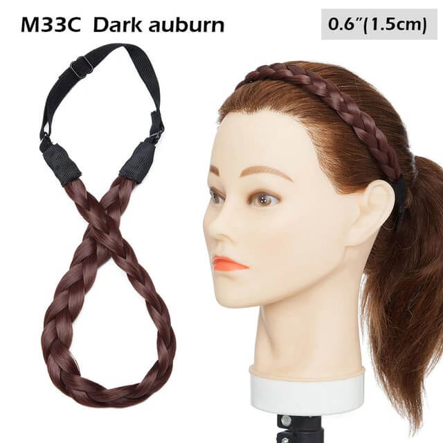 LuxDiva™ Braided Hair Headband with Adjustable Belt Dark Auburn 1.5cm
