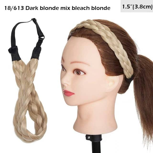 LuxDiva™ Braided Hair Headband with Adjustable Belt Dark Blonde Mix Bleach Blonde