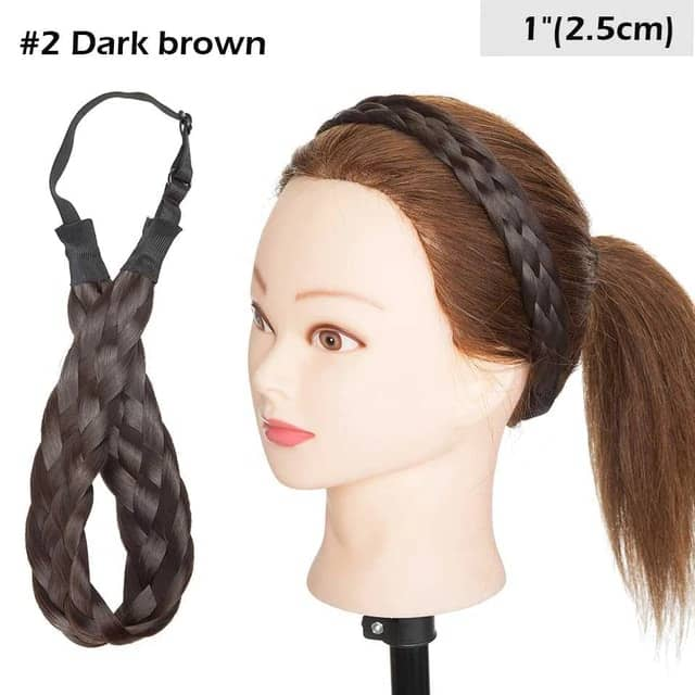 LuxDiva™ Braided Hair Headband with Adjustable Belt Dark Brown 2.5cm