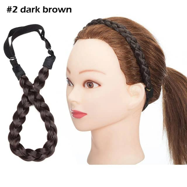 LuxDiva™ Braided Hair Headband with Adjustable Belt Dark Brown