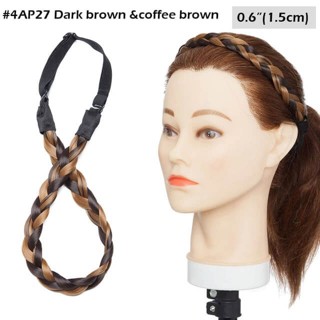 LuxDiva™ Braided Hair Headband with Adjustable Belt Dark Brown And Coffee Brown