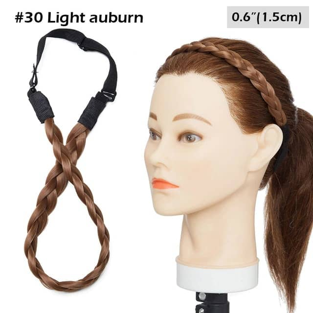 LuxDiva™ Braided Hair Headband with Adjustable Belt Light Auburn 1.5cm