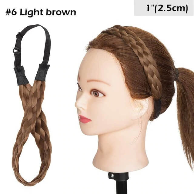 LuxDiva™ Braided Hair Headband with Adjustable Belt Light Brown 2.5cm