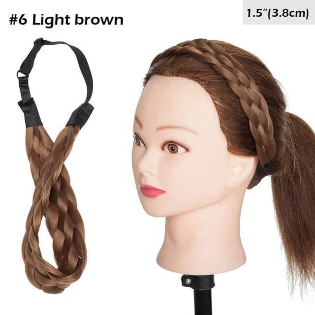 LuxDiva™ Braided Hair Headband with Adjustable Belt Light Brown 3.8cm