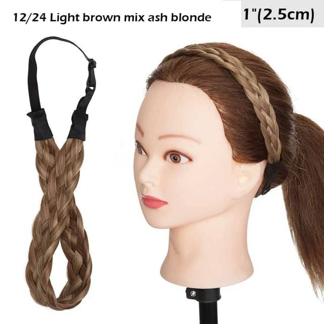 LuxDiva™ Braided Hair Headband with Adjustable Belt Light Brown Mix Ash Blonde