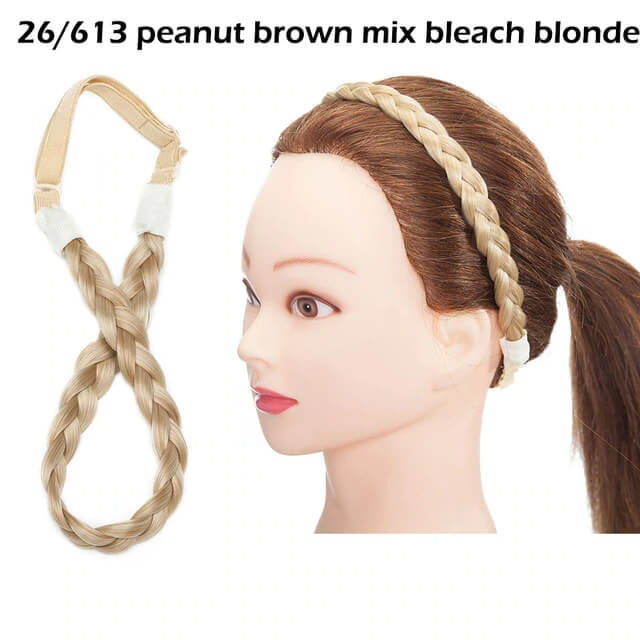 LuxDiva™ Braided Hair Headband with Adjustable Belt Peanut Brown Mix Bleach Blonde