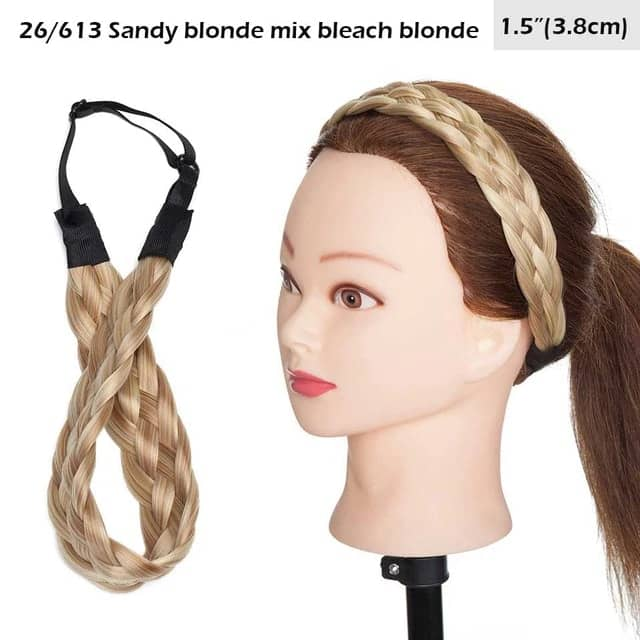 LuxDiva™ Braided Hair Headband with Adjustable Belt Sandy Blonde Mix Bleach Blonde