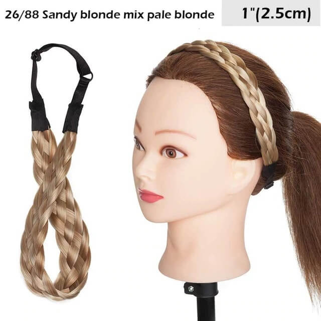 LuxDiva™ Braided Hair Headband with Adjustable Belt Sandy Blonde Mix Pale Blonde 2.5cm