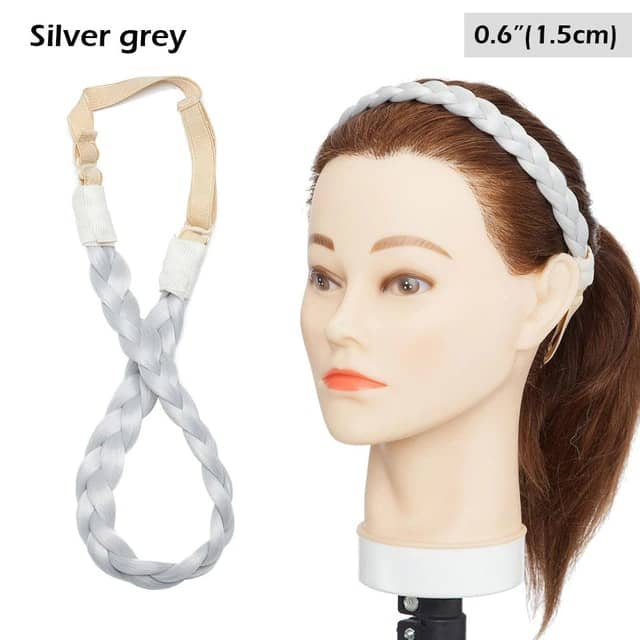 LuxDiva™ Braided Hair Headband with Adjustable Belt Silver Grey 1.5cm