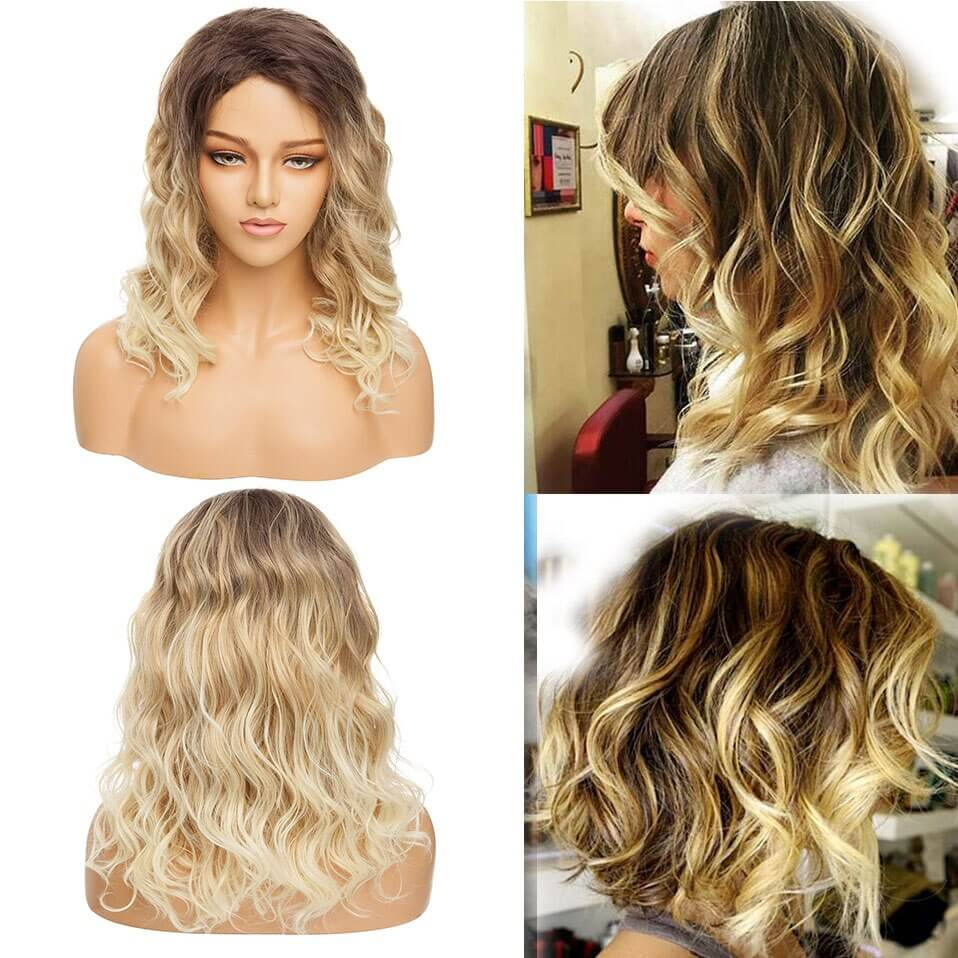 LuxDiva™ Short Curly Blonde Wig with Dark Root Ombre