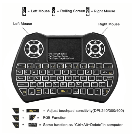 Mini Wireless Keyboard and Mouse for PC, Smart TV, and Projector