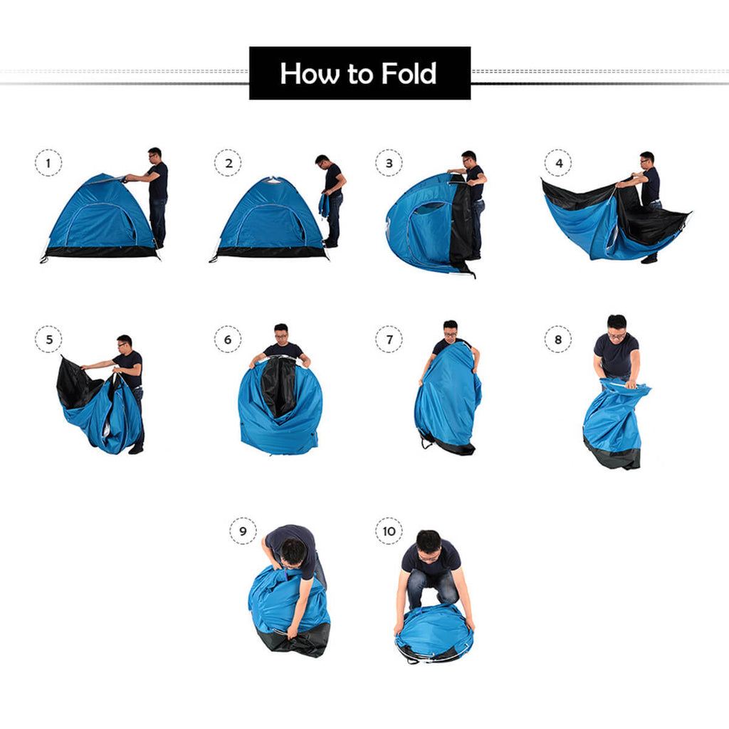 Outdoorz™ Automatic Camping Tent for Outdoor, Travel, and Hiking Folding Instructions