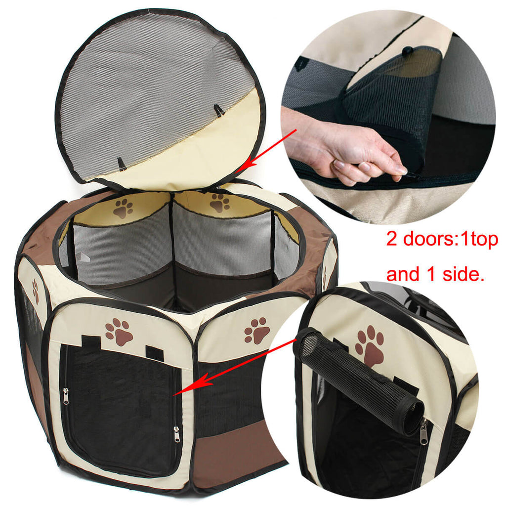 PetsCorp™ Pet Playpen for Indoor and Outdoor - Foldable and Portable