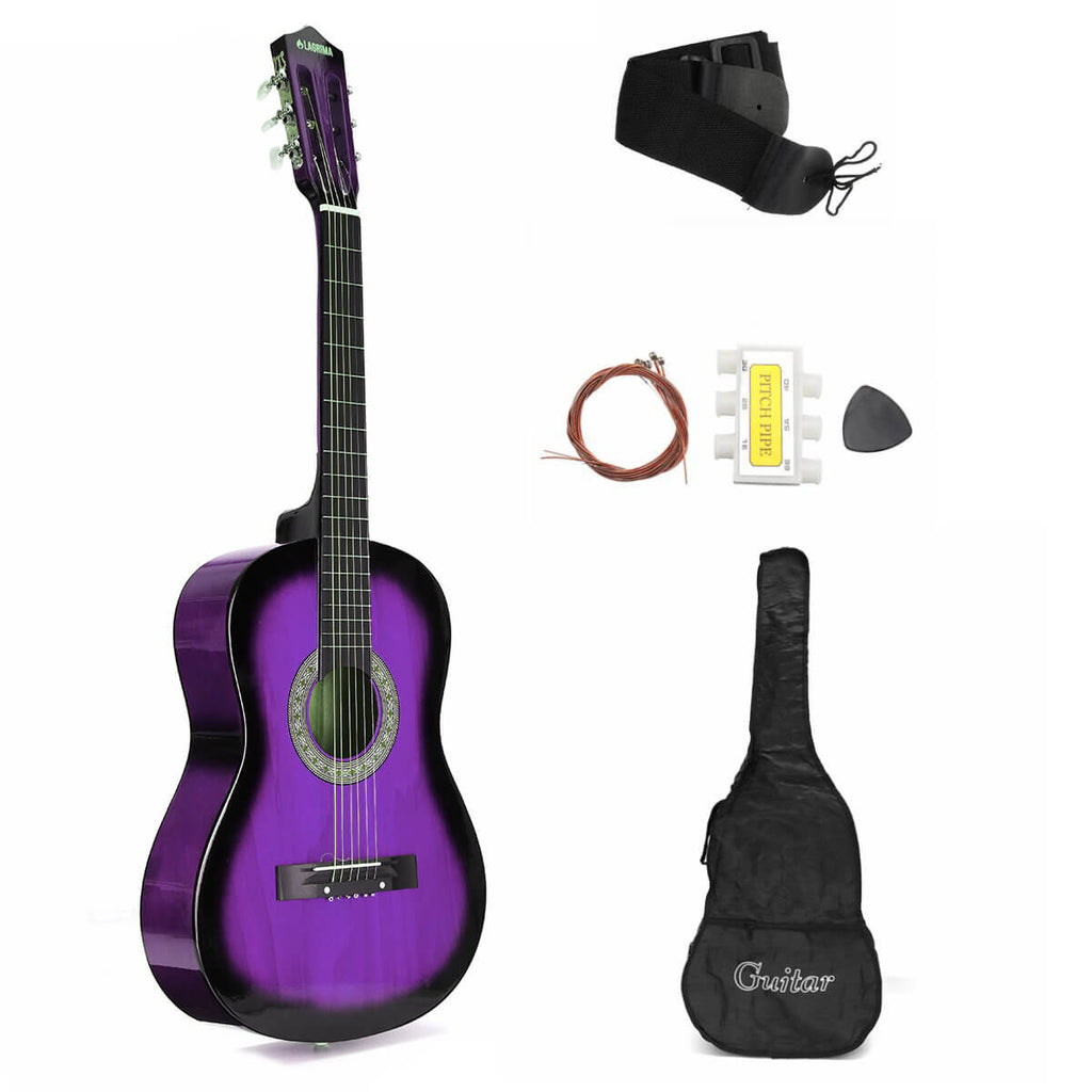 Purple AcousticBoy™ Guitar for Beginner with Case, Strap, Tuner, Pick, Strings