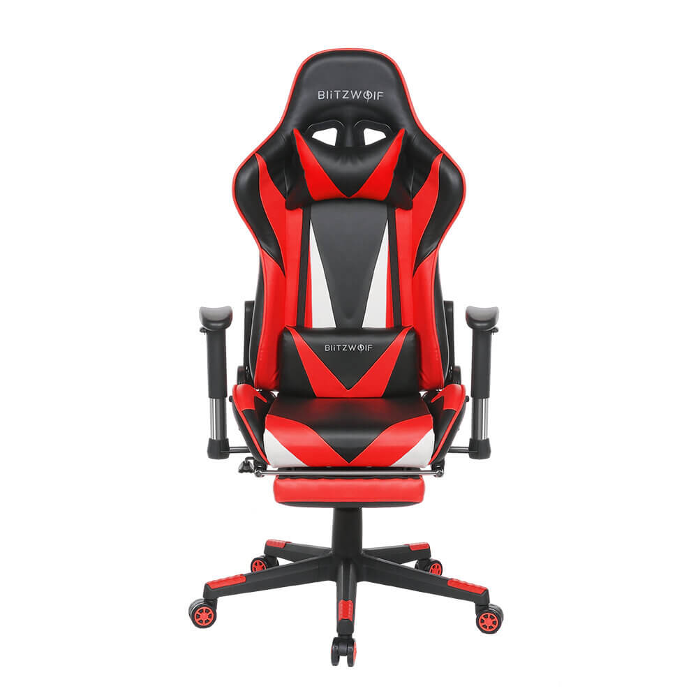 Red BlitzWolf™ Gaming Chair with Adjustable Armrest and Footrest, and 180° Reclining