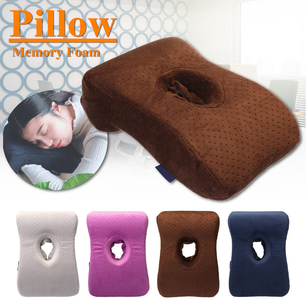 RelaxGel Memory Foam Face Down Pillow for Travel, Home, or Office