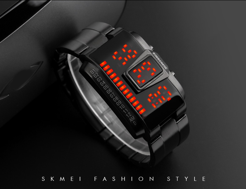 Skmei Mens Digital Sport Watch - Waterproof - LED - Stainless Steel