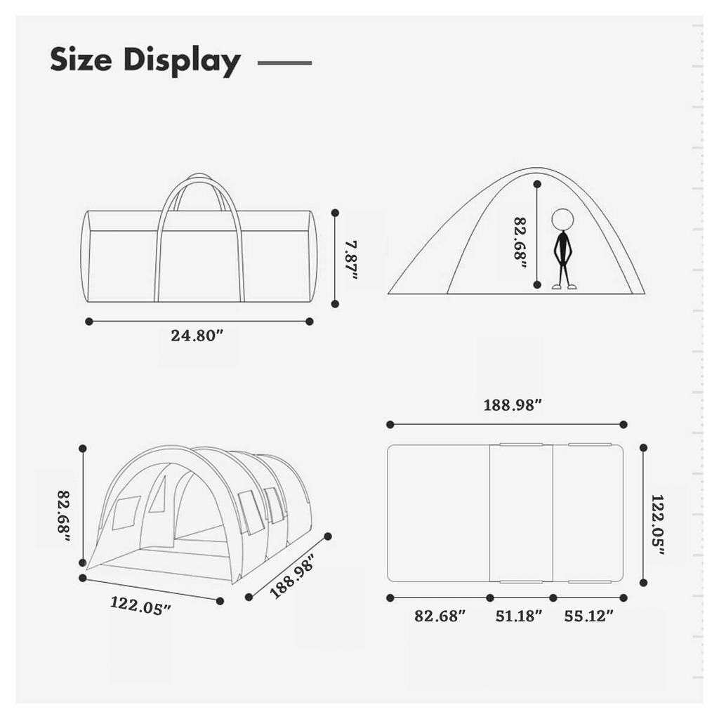 TentRus™ Waterproof Camping Tent for Big Family 8 - 10 Person