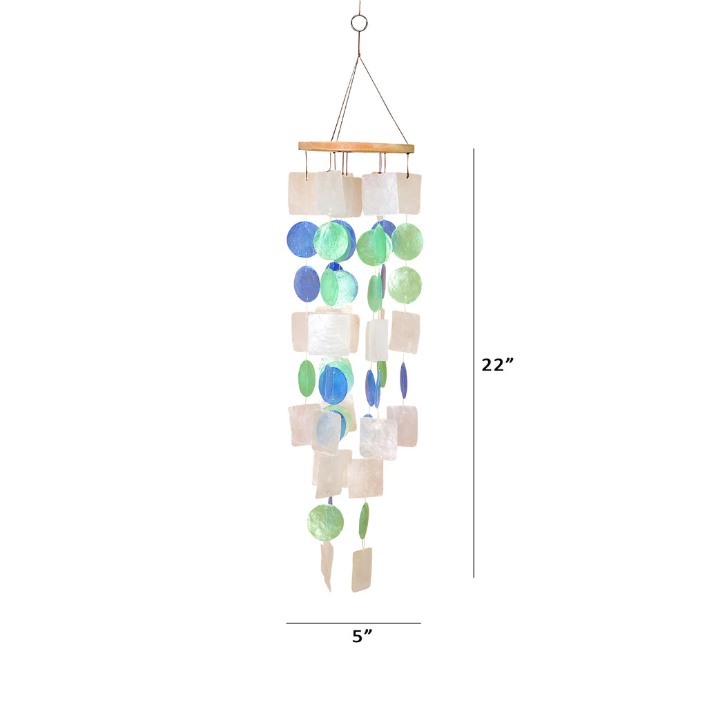 UP Seashell Wind Chime Handmade from Wood and Capiz Shell Multicolor