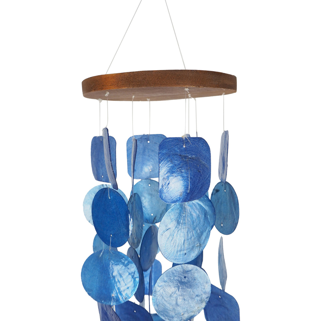 UP Unique Wind Chimes Handmade from Wood and Capiz Shell blue