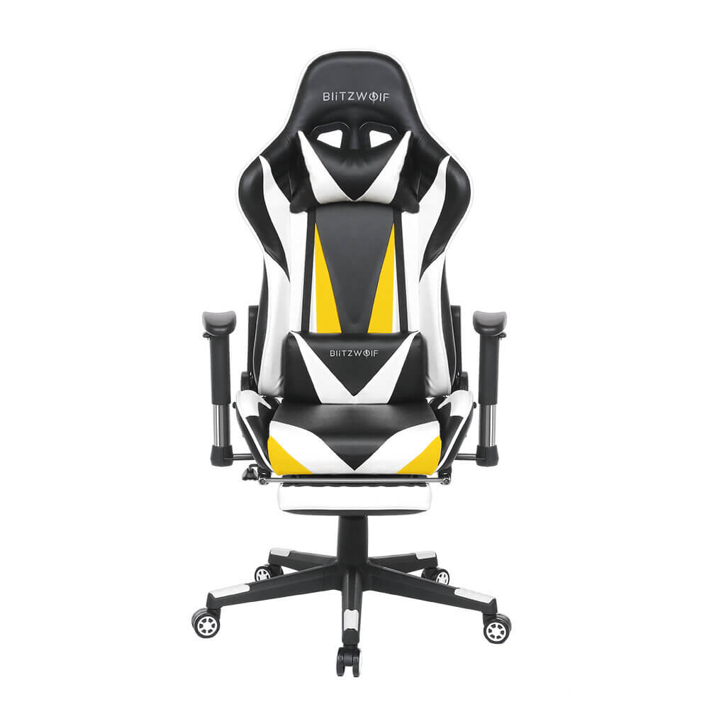 White BlitzWolf™ Gaming Chair with Adjustable Armrest and Footrest, and 180° Reclining